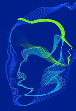An image with a blue background showing pale blue and green lines forming abstract silhouettes of human faces.