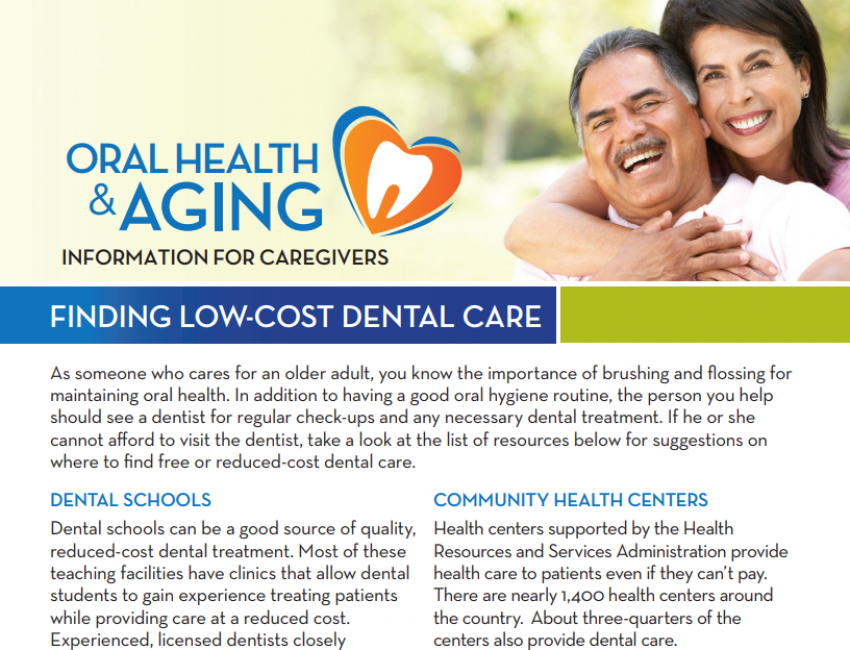 Finding Low-Cost Dental Care: Information for Caregivers
